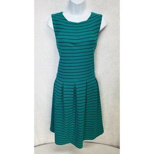 Mossimo Women's Dress Green Stripes Sleeveless Lg